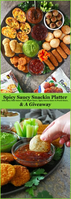 #AD Shop @Walmart and make @FarmRichSnacks your #HomegatingHero with this Spicy Saucy Snackin' Platter featuring Spicy Chili Maple Sauce, Spicy Peach Sauce, Spicy Green Sauce, and, Spicy Date Sauce for your homegating party or casual get-togethers!! (entire blog post link)