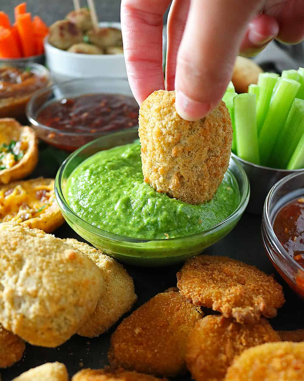 Delicious Spicy Green Sauce And FarmRich Jalapeno Poppers.