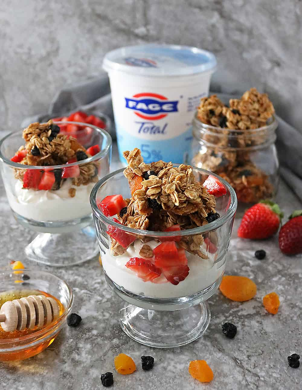 Delicious Clumpy Blueberry Apricot Granola with creamy FAGE