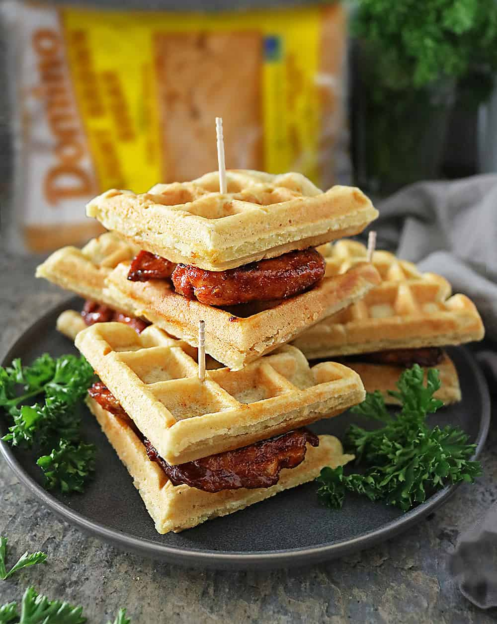 These Chicken and Waffle Sliders are easy to handle and oh so easy to enjoy!