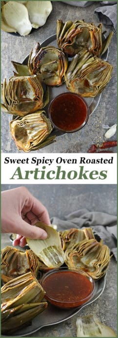 How to make fresh artichokes are cleaned, trimmed, de-choked, and slathered with a tastebud tantalizing, Honey Orange Chili Sauce and oven roasted into these Sweet Spicy Oven Roasted Artichokes your friends and family are sure to love!