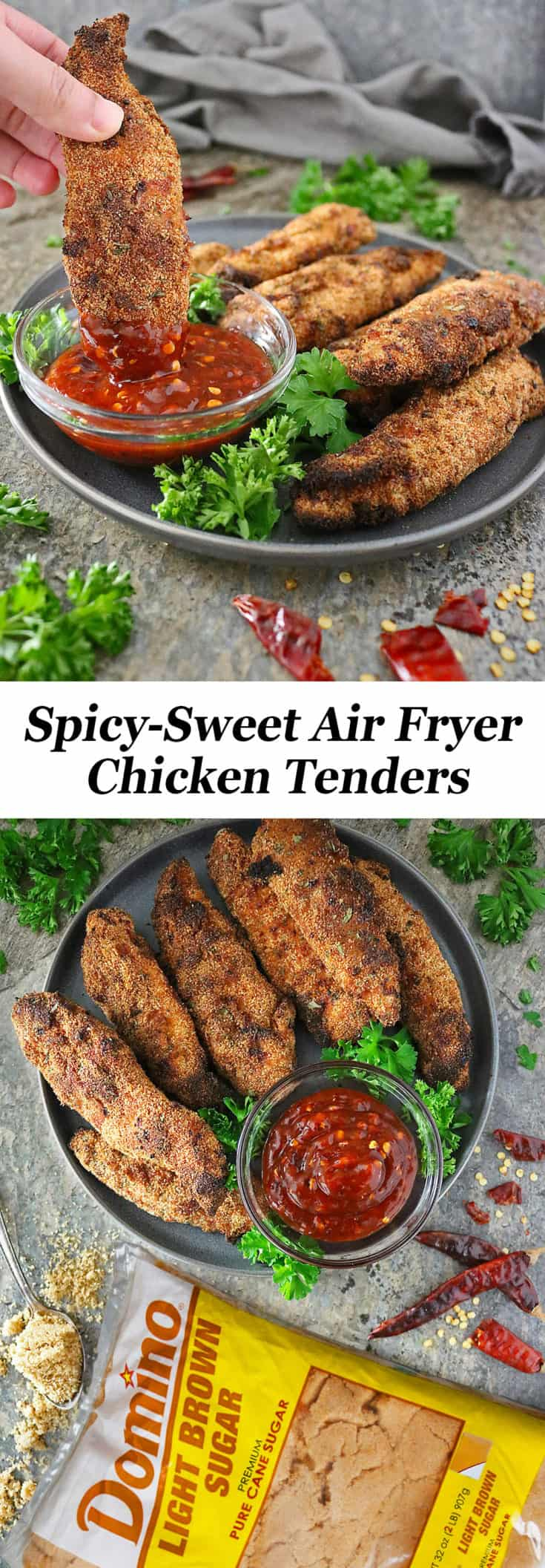 These chicken tenders are a favorite in our home. We are in the middle of unpacking and our air fryer is the first thing getting unpacked because these Spicy-Sweet Air Fryer Chicken Tenders are so darn quick and easy to whip up!