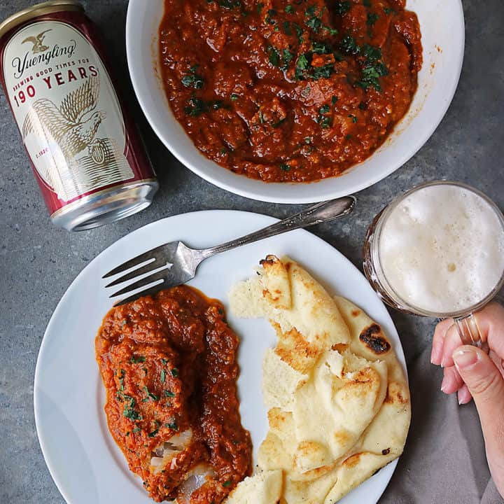 #ad msg for 21+ If you have 30 minutes at dinnertime, you can whip up this delicious, budget friendly and nutritious, fish curry. Pair it with some naan and Yuengling, and you have a delightfully delicious meal to end your day with. #Yuengling190 #SpreadYourWings