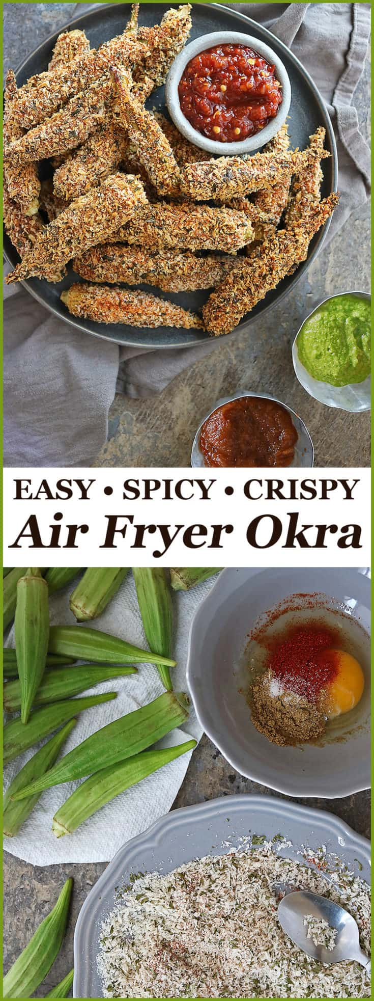 Coated with a deliciously spiced egg wash and flaked panko breading, these Crispy Spicy Air Fryer Okra are delicious to snack on or enjoy as a side at your next family meal.