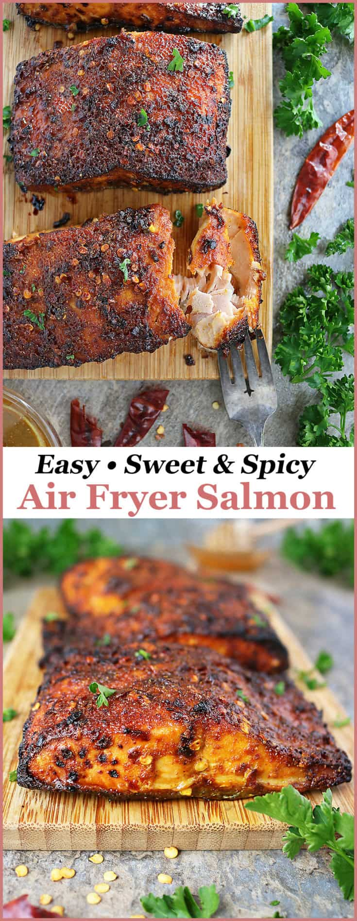 Chili and honey intertwine deliciously in this crispy, Easy Sweet Spicy Air Fryer Salmon recipe. With just 6 ingredients, you can have this salmon on the table in less than 15 minutes.