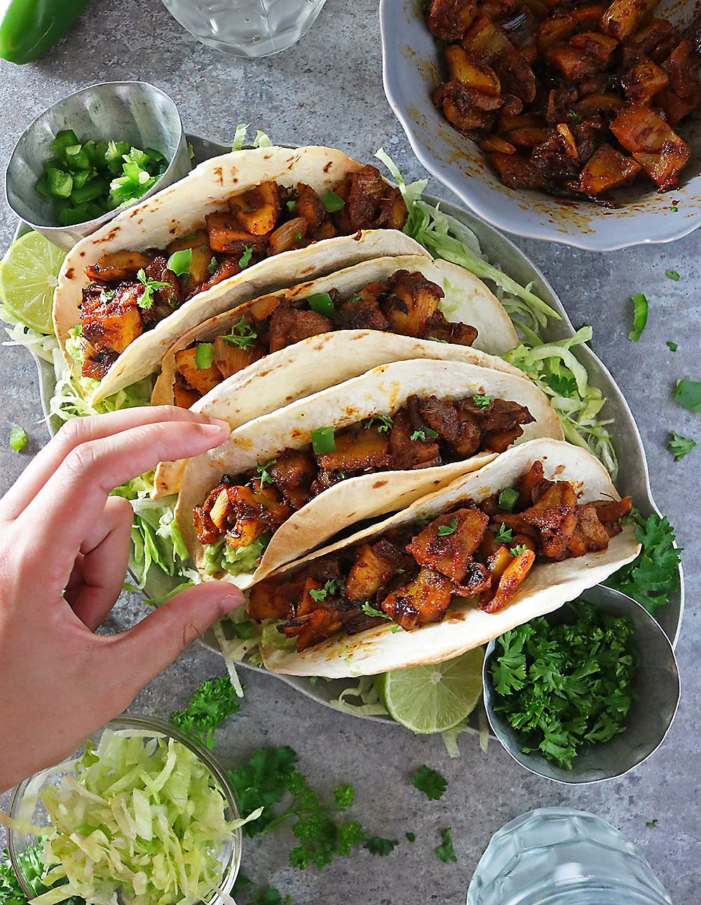 Delicious, spice-filled, Jackfruit Tacos Make for a welcome vegan meal.