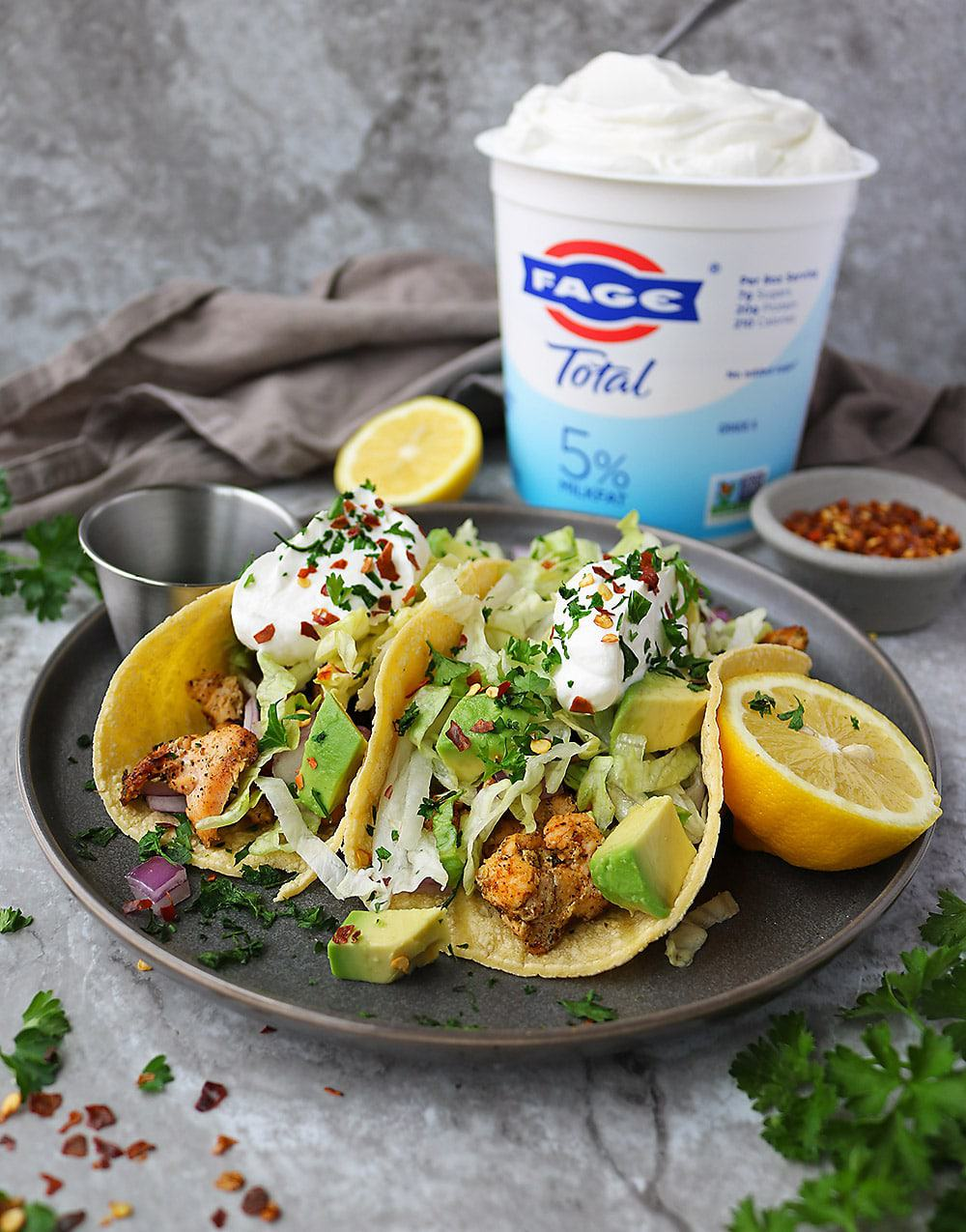 Easy Tasty Salmon Tacos with FAGE Greek Yogurt