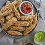 Coated with deliciously spiced egg wash and spiced panko breading, these Crispy Spicy Air Fryer Okra are a must make!