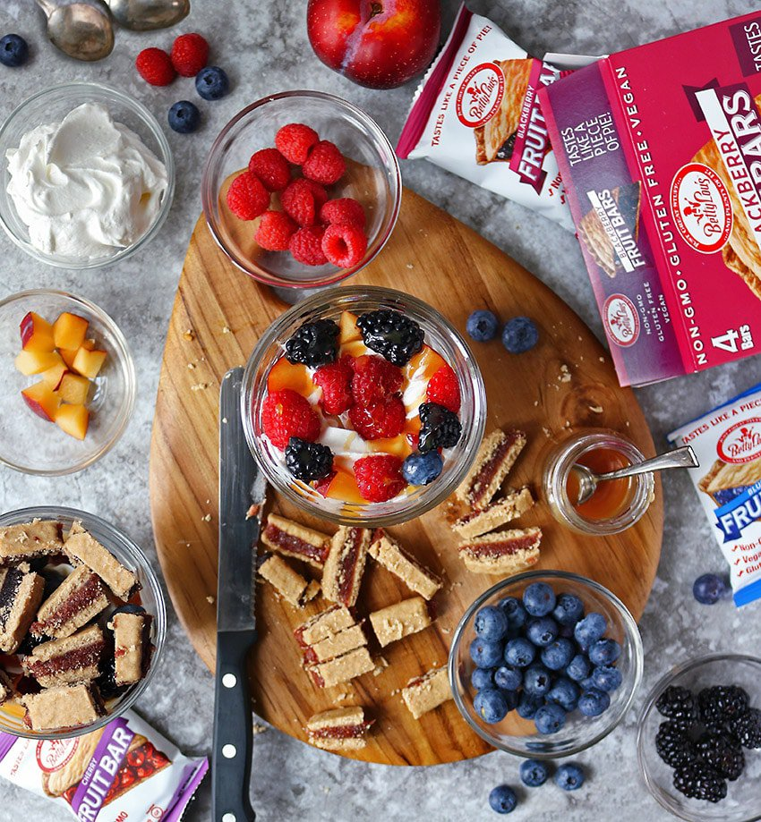 Betty Lou Bars And Other Ingredients To Make Easy Bar Berry Trifles for dessert.