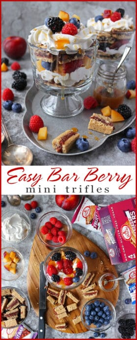 #ad These Easy Bar Berry Mini Trifles are my spin on traditional trifle and are made with 4 main components including Betty Lou's Fruit Bars from Walmart. #bettylous #BettyLousAtWalmart #PMedia