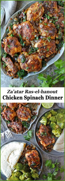 Middle Eastern herb mix, Za'atar, mingles with Middle Eastern spice mix, Ras El Hanout, in this 6-ingredient, keto, taste-bud tantalizing, and, super easy Chicken Spinach Dinner.