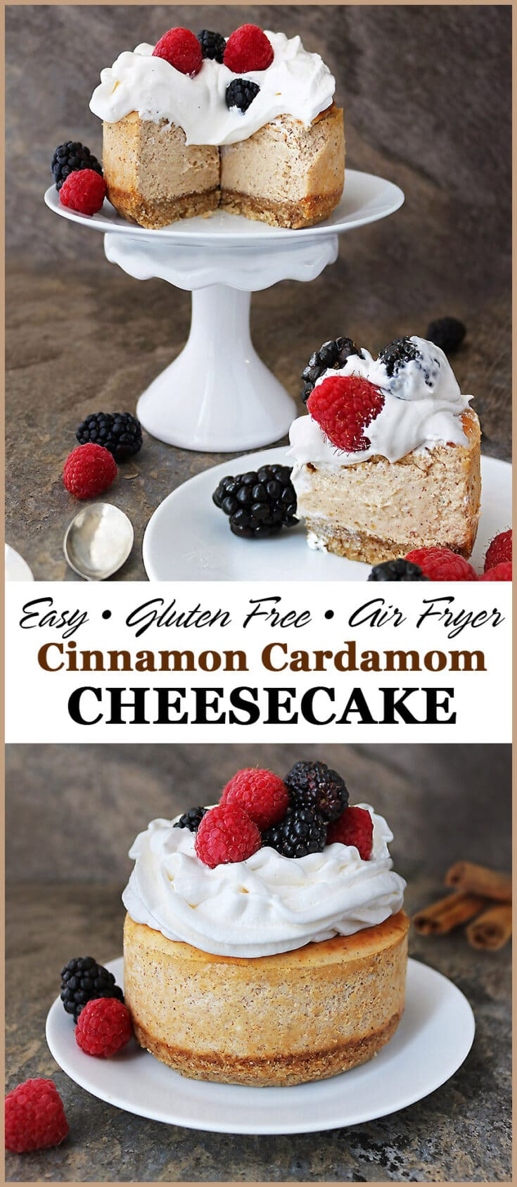 Sitting on a cinnamon and cardamom flavored almond base, this easy, gluten free, mini, Air Fryer Cinnamon Cardamom Cheesecake is deliciously creamy ~ serve it up with fresh berries and whip cream for a treat your family and friends will love.