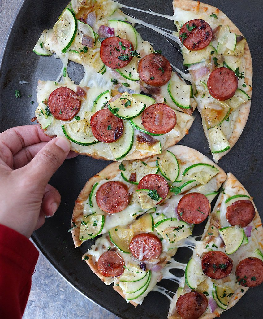 So filling and tasty, Easy Sausage Zucchini Flatbread