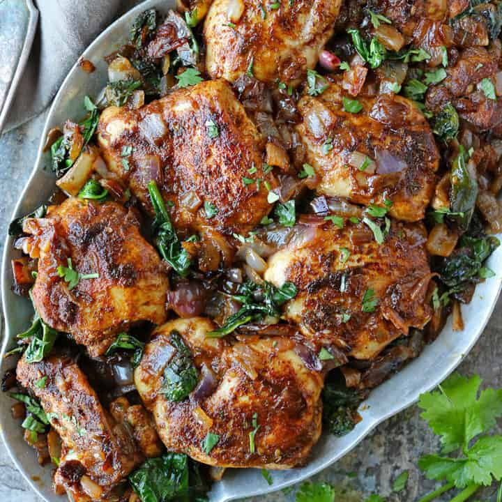 Za'atar Ras El Hanout Chicken Spinach dinner