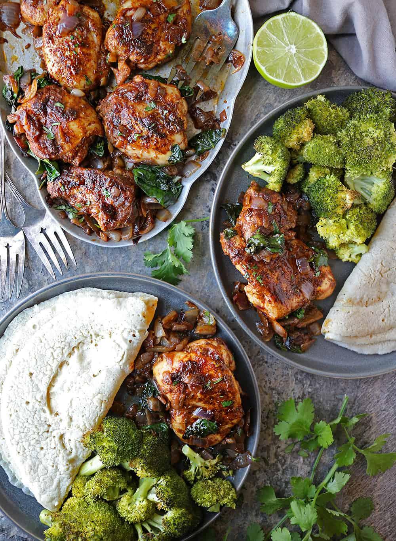 Super Simple Za'atar Ras el hanout Chicken Spinach Saute