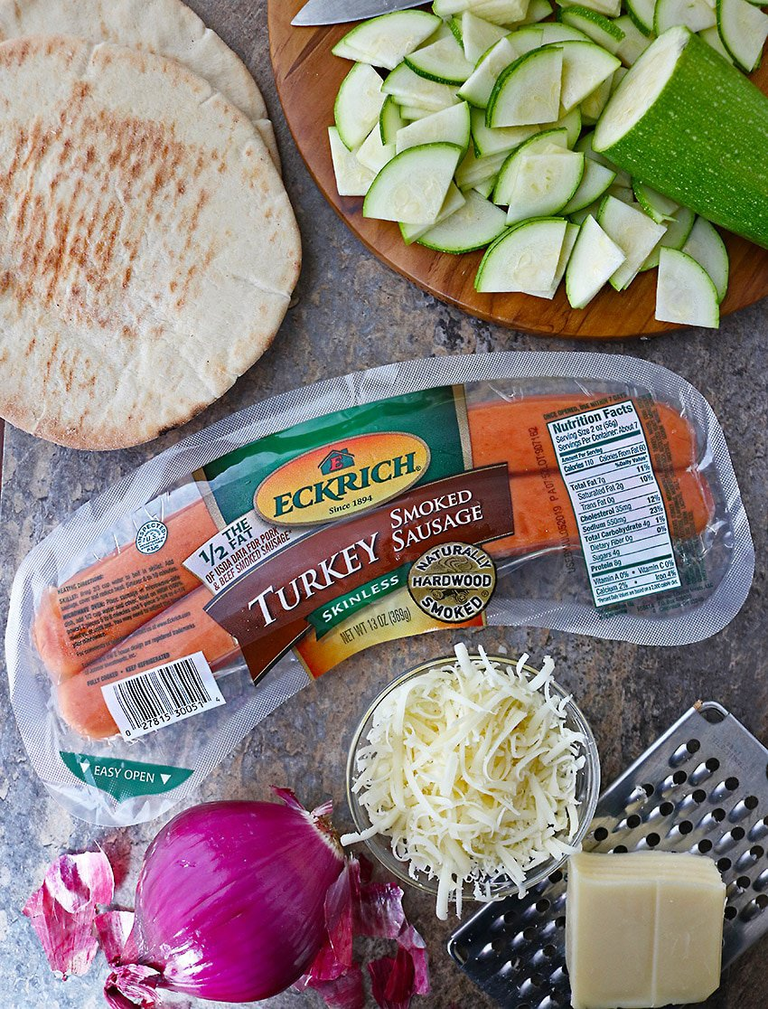 Eckrich Smoked Turkey Sausage And Other  Ingredients to make flatbreads