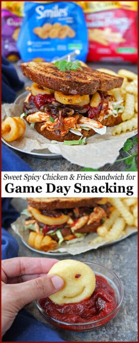 This piled-high Sweet Spicy Chicken Fries Sandwich has shredded lettuce, tender shredded chicken caramelized onions, crispy mushrooms, McCain® Seasoned Curly Fries Seasoned Potato Fries, and McCain® Smiles® Mashed Potato Shapes.