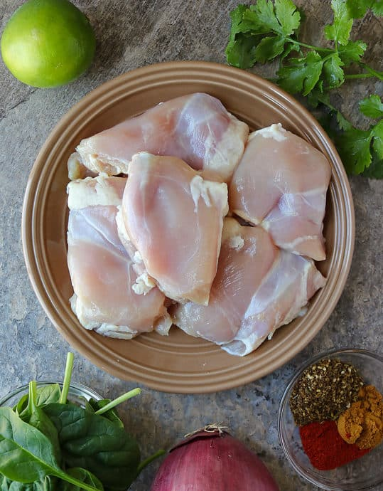 The 6 Ingredients to make Za'atar Ras el hanout Chicken Spinach Dinner.