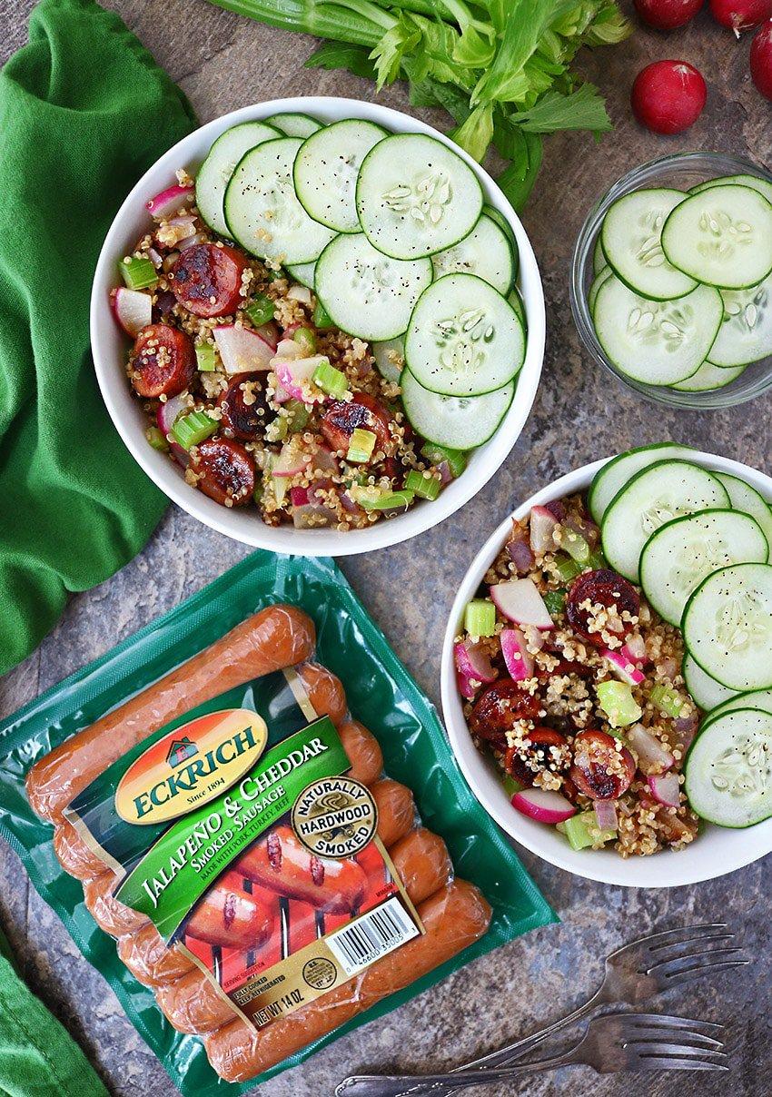 Easy Radish Sausage Quinoa Salad