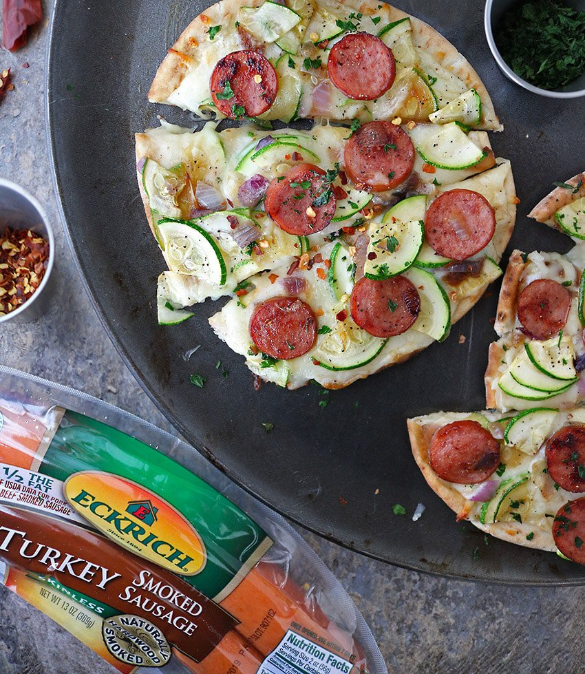 Easy and delicious Sausage Zucchini Flatbread with Eckrich Turkey Sausage