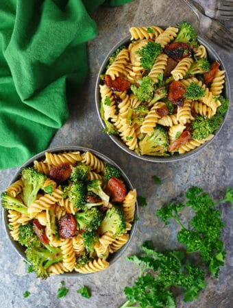 Easy Spicy Broccoli Sausage And Pasta Bowls