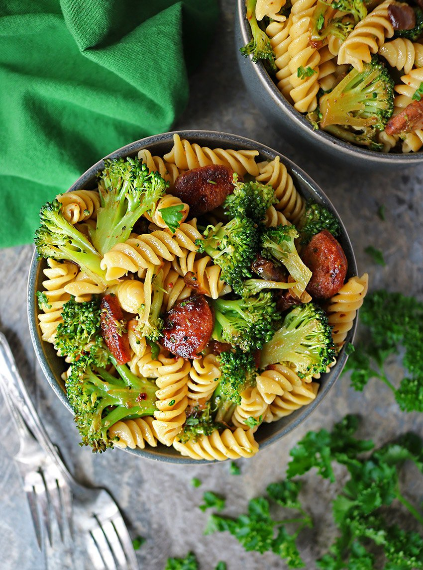 Easy, gluten free, Spicy Broccoli Sausage Pasta for dinenr or lunch.