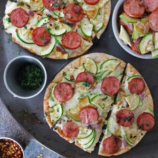So Tasty Easy Zucchini Sausage Flatbread