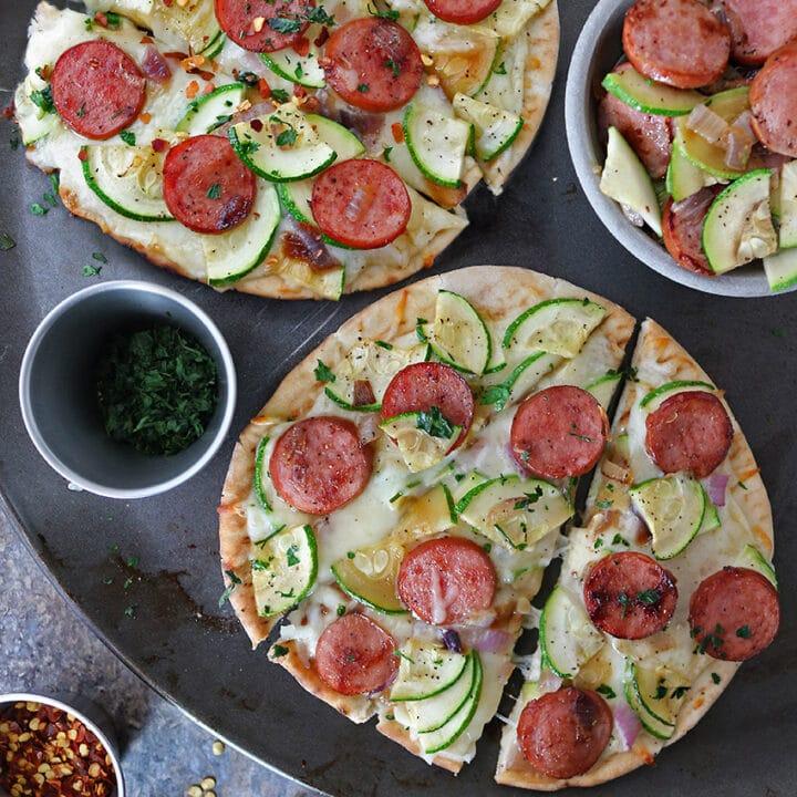 Easy Zucchini Sausage Flatbread
