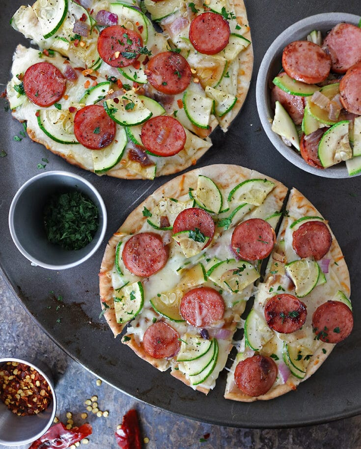 After tasting this Easy Zucchini Sausage Flatbread, my daughter suggests we start a family tradition of Flatbread Friday ~ check out the recipe and let me know if you will be joining us?