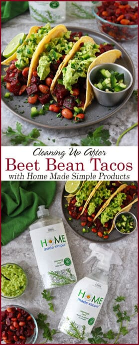 #ad I heart beets so I made these HeartBeet Bean Tacos!  Beetroot and Pinto Beans are sautéed in onions, ginger, garlic and a tasty blend of spices, piled onto tacos and topped off with creamy guacamole in these tasty (yet messy), vegetarian HeartBeet Bean Tacos! But, beets are messy! They manage to get everywhere and stain everything. And, that's where @homemadesimple Line of plant-based cleaning Products come in to help! #HomeMadeSimple products can be found at most @Walmart stores #WalmartFinds  Find out more about Home Made Simple here http://spr.ly/savoryspinHMS