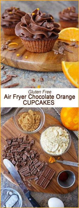 Gluten Free Air Fryer Chocolate Orange Cupcakes