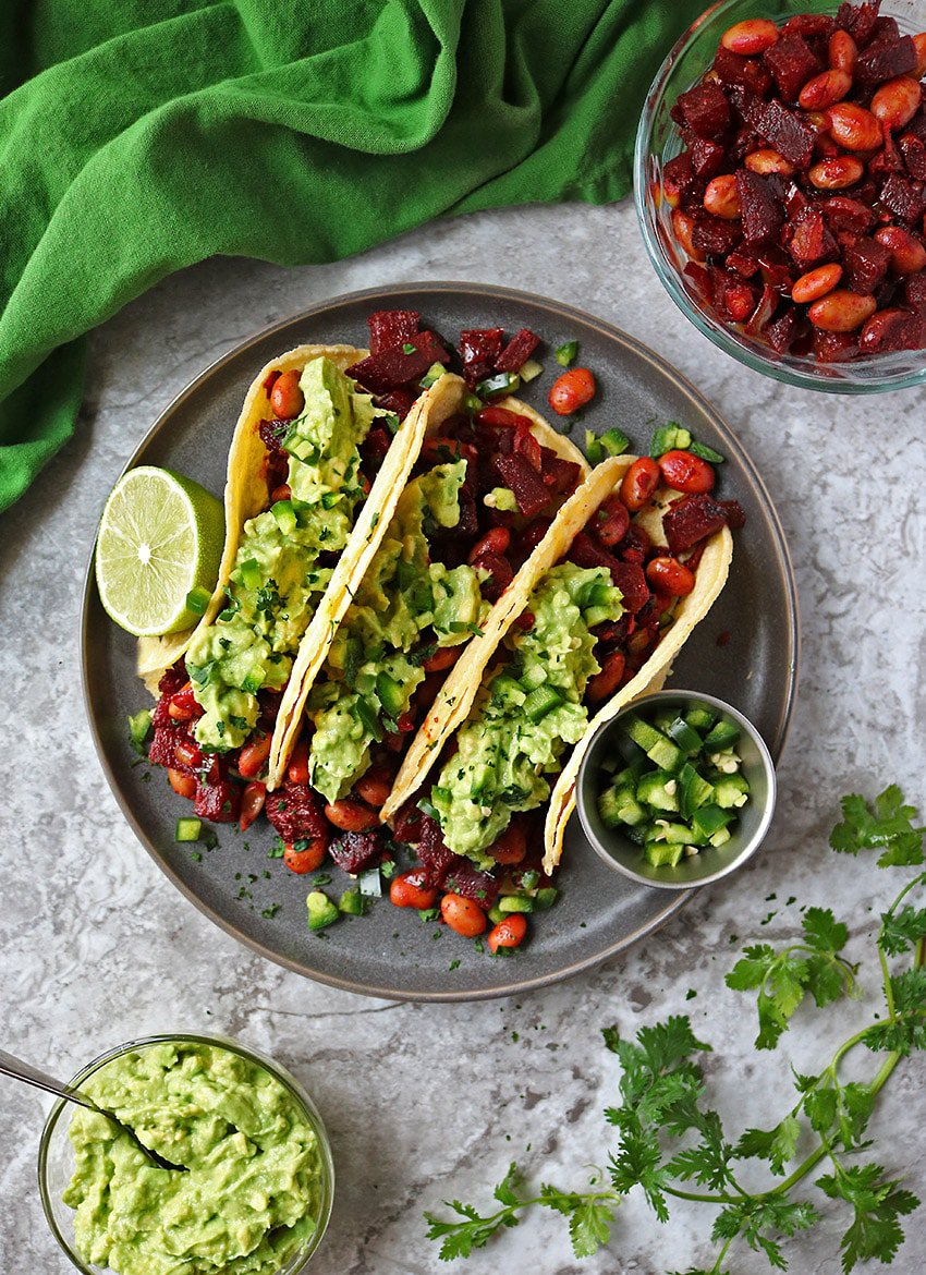 Easy Beetroot Bean Tacos