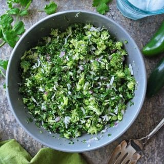 Cilantro, Broccoli and Kale are the stars of this delicious, easy, Broccoli Kale Cilantro Sambol (Salad).