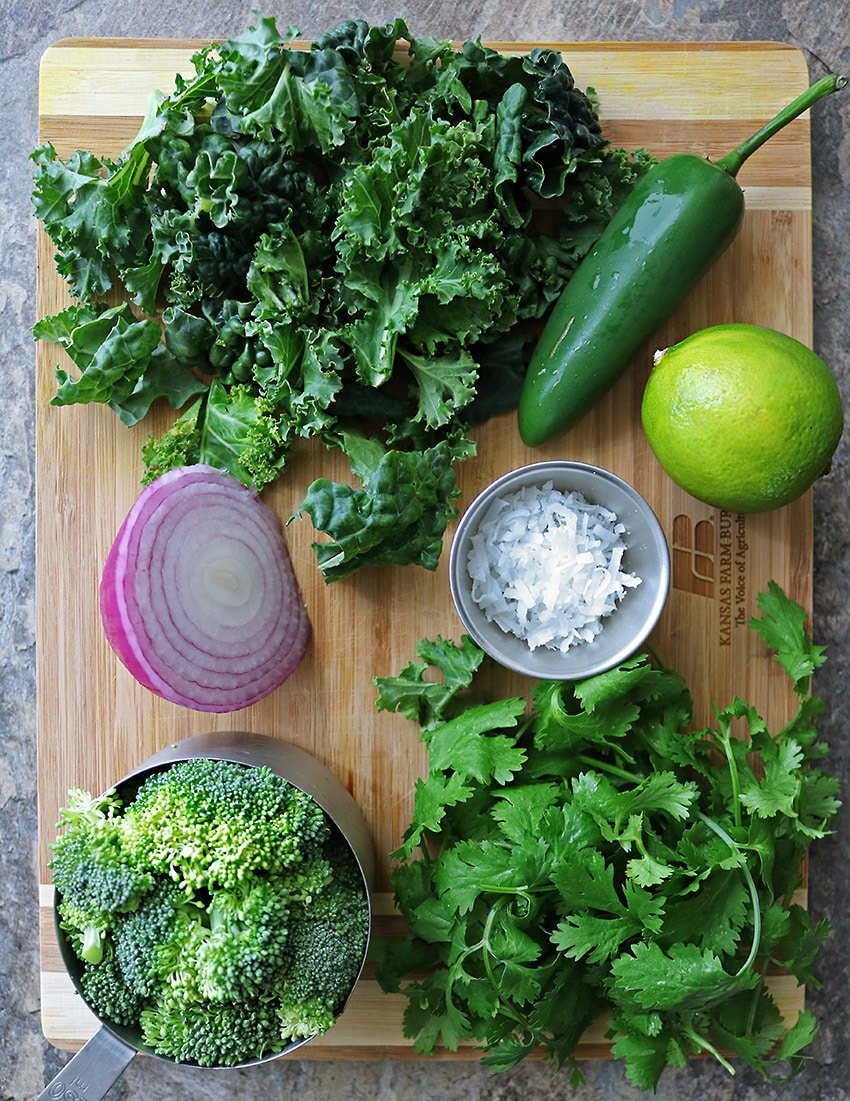 The Ingredients To Make Broccoli Kale Cilantro Salad