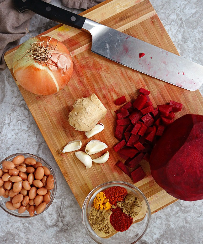 Ingredients To Make Messy HeartBeet Bean Tacos