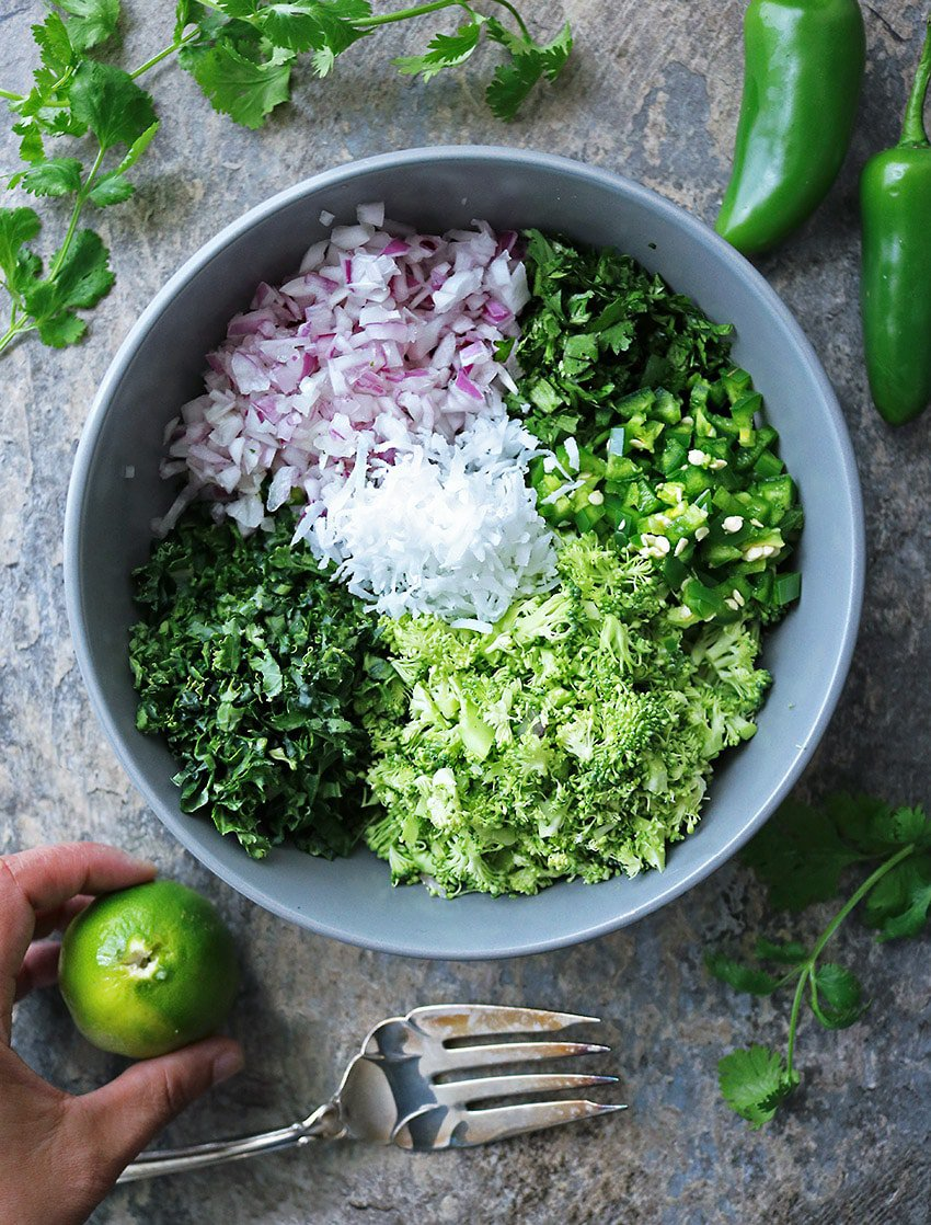 Making Broccoli Kale Cilantro Sambol / Salad