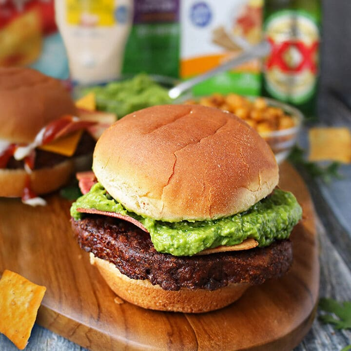 MorningStar Burger With Green Goddess Sauce.