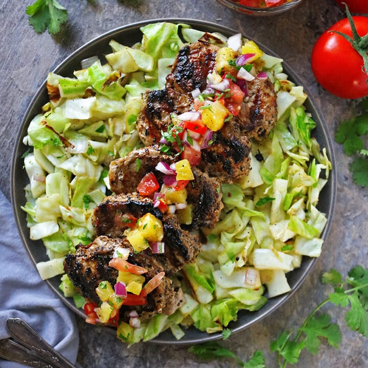 Grilled Pork and Grilled Pineapple Salsa Dinner