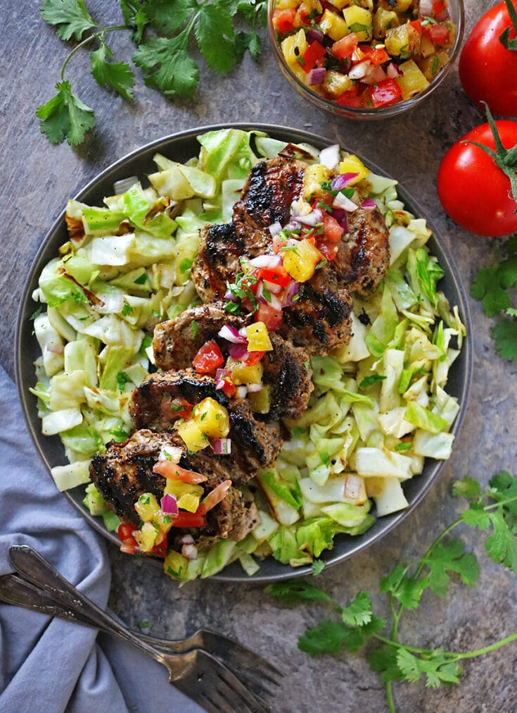You can be enjoying this scrumptiously flavorful and easy Grilled Pork and Grilled Pineapple Salsa Dinner in less than 30 minutes.