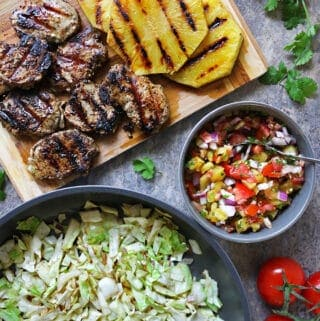 Roasted Pineapple Salsa Pork Sauteed Cabbage Dinner