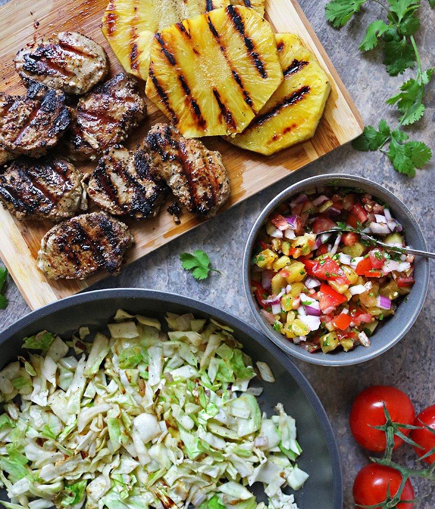 Roasted Pineapple Salsa Pork Sauteed Cabbage Dinner