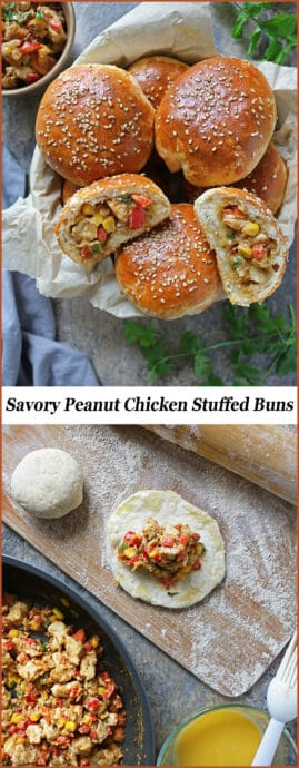 #ad Stuffed with a flavor-packed, creamy Peanut Chicken sauté, these Savory Peanut Chicken Stuffed Buns are simply delicious and so hard to share! Please do tell me and the #NationalPeanutBoard #HowDoYouPB