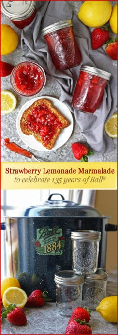 #ad Ball® jars are a favorite for us when it comes to carrying around fresh salads, sipping on shakes on long summer car rides, gifting granola around the holidays, storing trinkets for a hobby, and for preserving and sharing this tangy and delicious, easy Strawberry Lemonade Marmalade! #Ball135