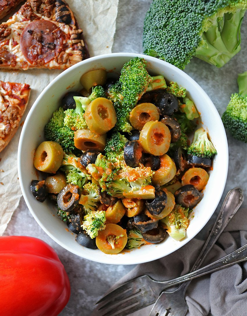 Broccoli Olive Salad with Roasted Red Pepper Dressing