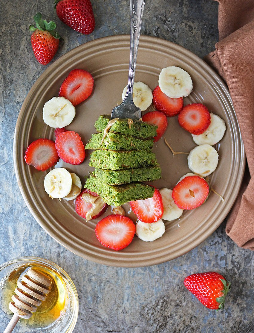 Forkful of Oatmeal Green Smoothie Pancakes