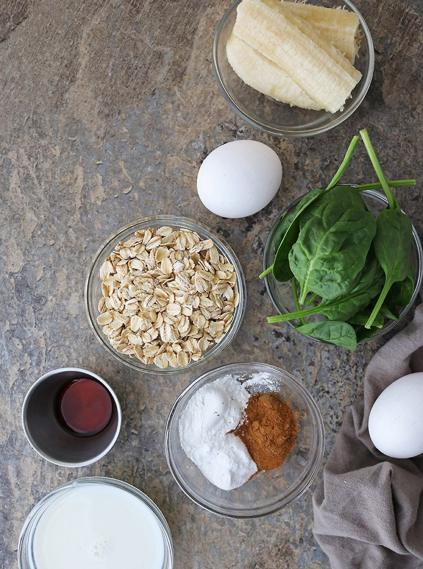 Ingredients For Oatmeal Green Smoothie Pancakes Photo
