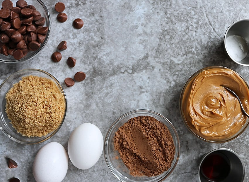 Ingredients For Grain free Peanut Butter Chocolate Cookies