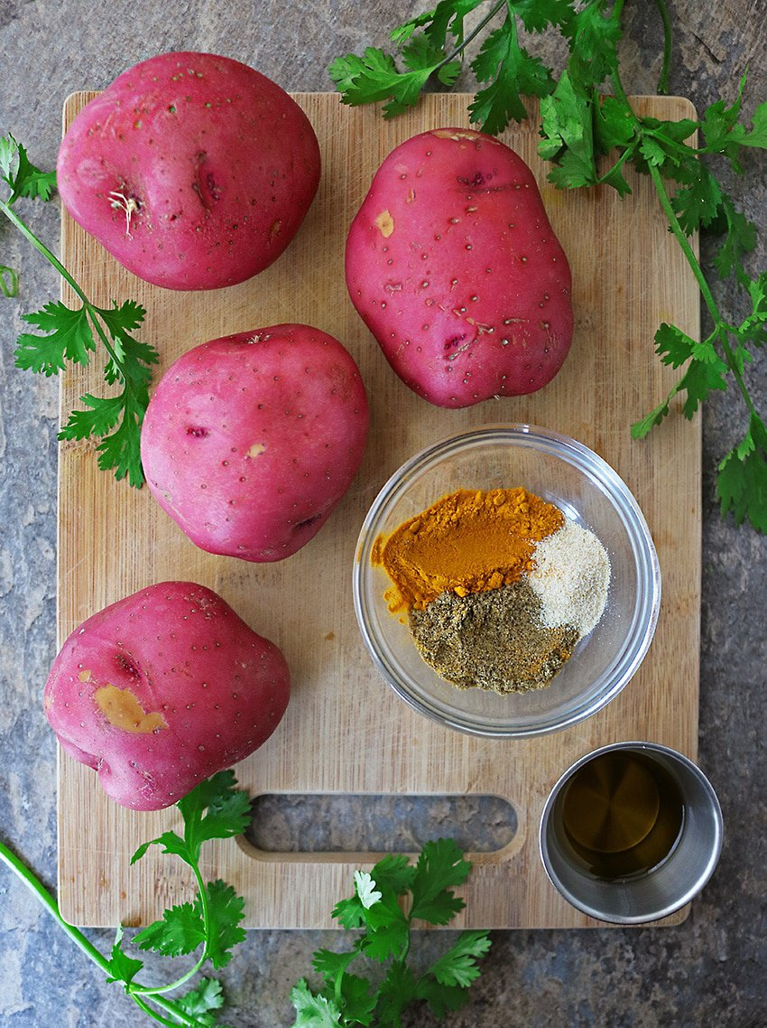Ingredients To Make Spiced Turmeric Potatoes.