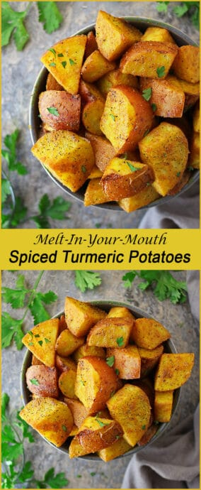 Deliciously spiced and ever so slightly crisp on the outside, these melt-in-your-mouth Turmeric Potatoes are a favorite in our home.