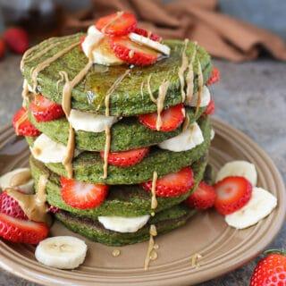 Green Smoothie Oatmeal Pancake Stack